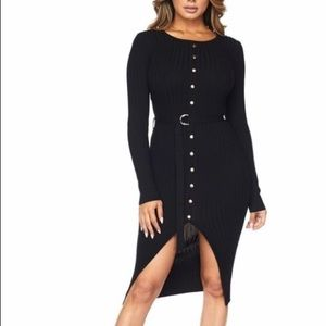 ‼️ Black Gold Button Midi Waist Tie Sweater Dress